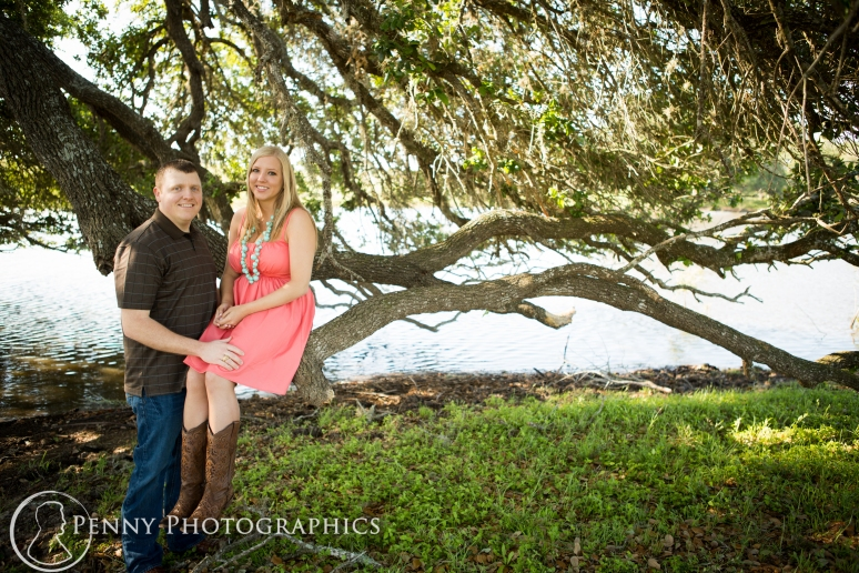Engagement session under a tree in LaGrange TX