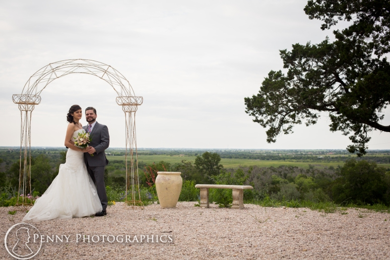 Wedding Portraits under Altar at TerrAdorna in Manor, TX