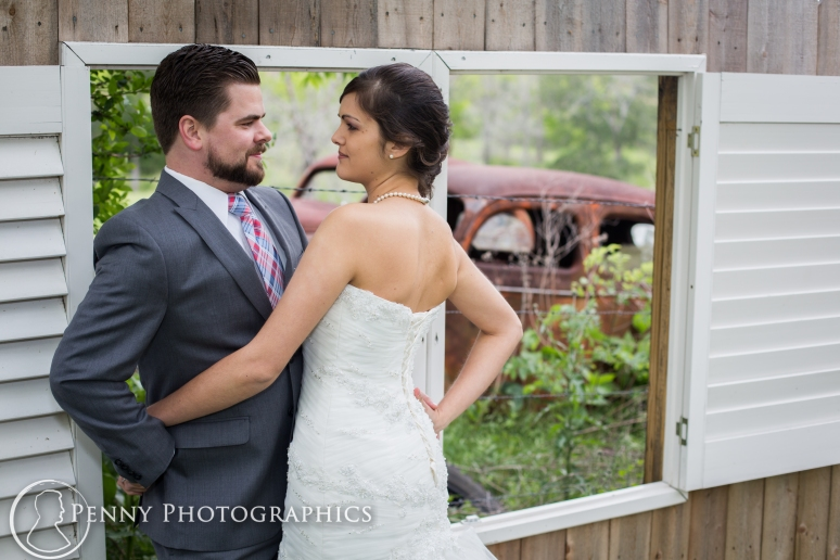 Wedding Portraits with old car at TerrAdorna in Manor, TX