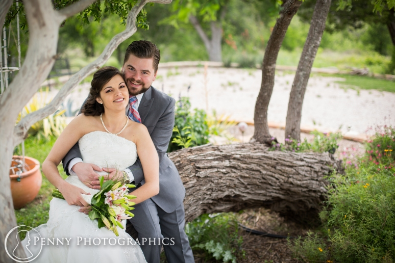 Wedding photos in garden at TerrAdorna in Manor, TX