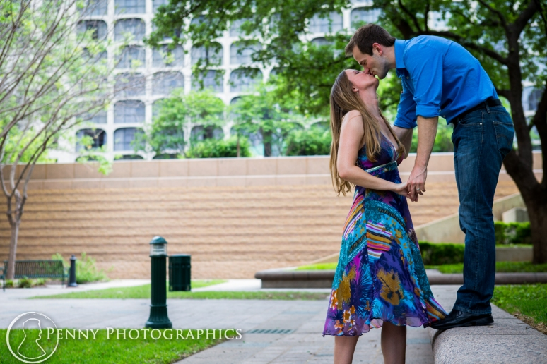 Engagement photos in courtyard in Austin, TX