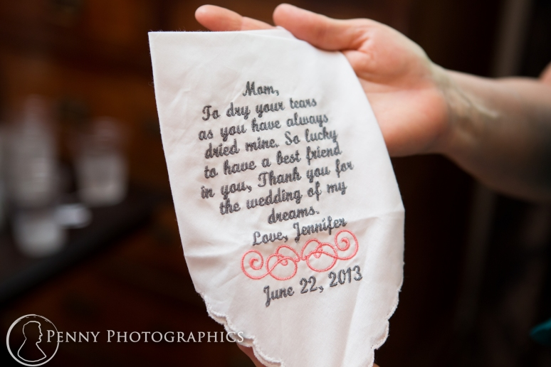 Note to mom on the wedding day at the allan house in Austin, TX