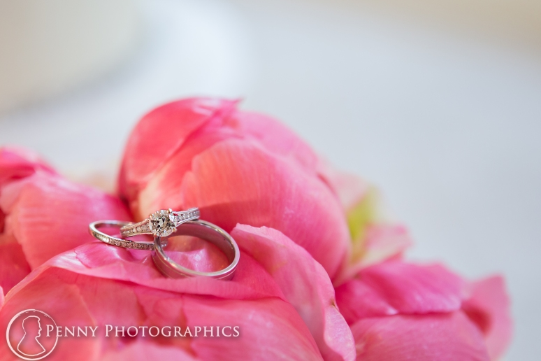 Ring shot on pink flowers at the allan house in austin, tx
