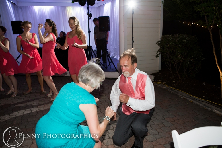 Having fun dancing at wedding reception at the Allan house in Austin, TX