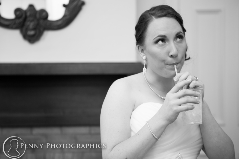 bride relaxing before wedding at the Allan house in Austin TX