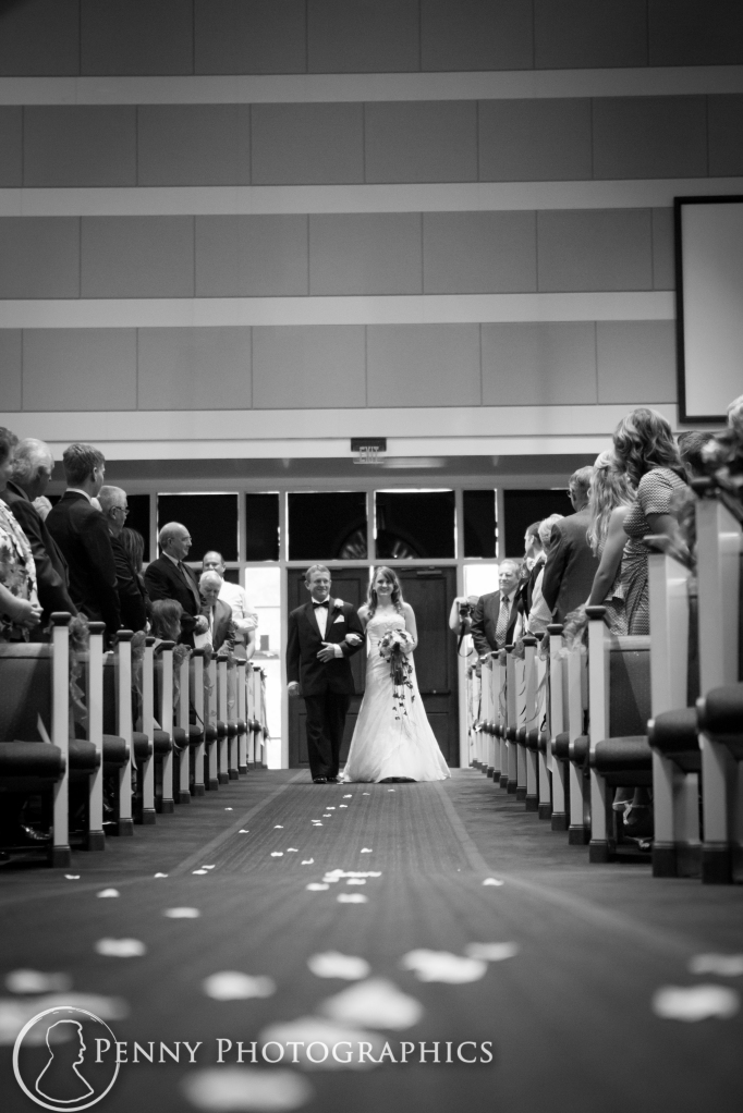 Bride walking down isle