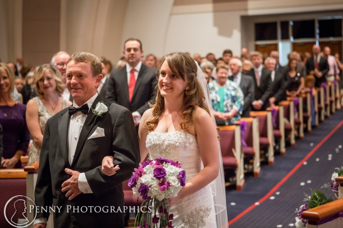 Bride and father walking down isle