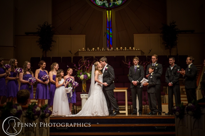 first kiss at wedding in Georgetown, TX