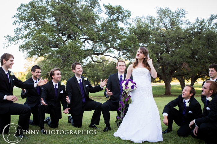 bride and groomsmen fun pose in Georgetown,TX