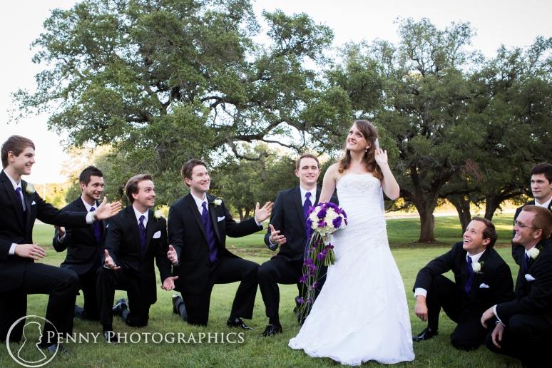 bride and groomsmen fun pose in Georgetown,TX