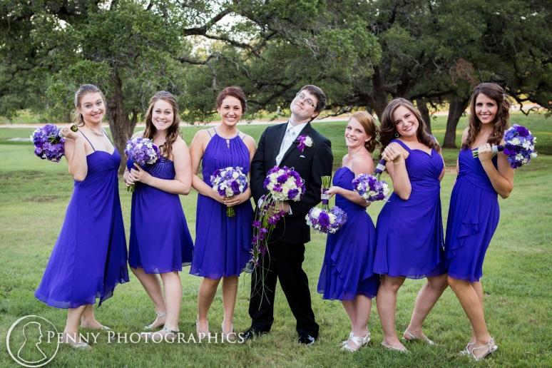 The groom and bridesmaids fun pose
