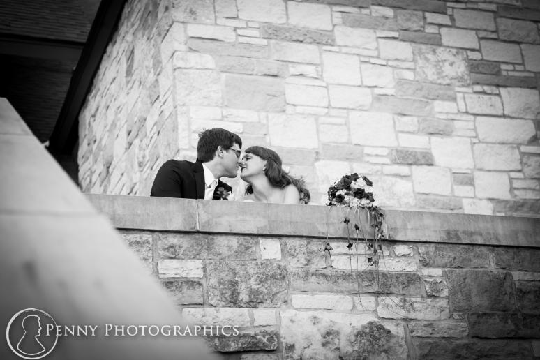 Wedding portraits outside church Georgetown TX