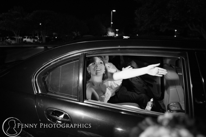 Wedding Exit in car