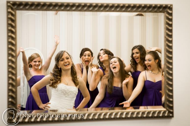 Bride and Bridesmaids in mirror