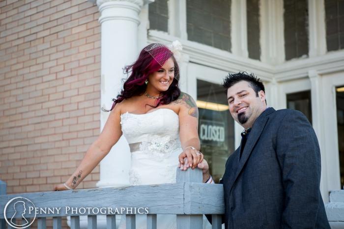 bride looking at groom
