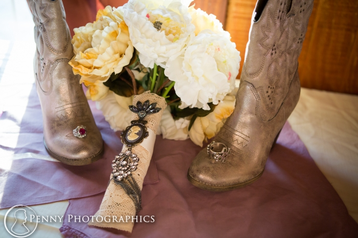 wedding boots and bouquet