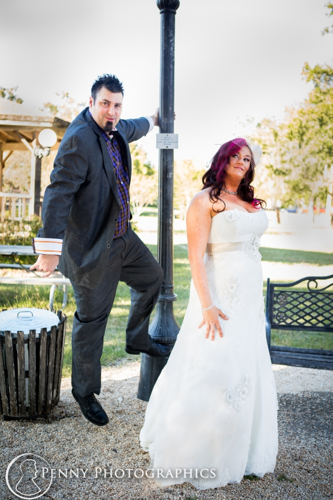 bride and groom having fun before wedding