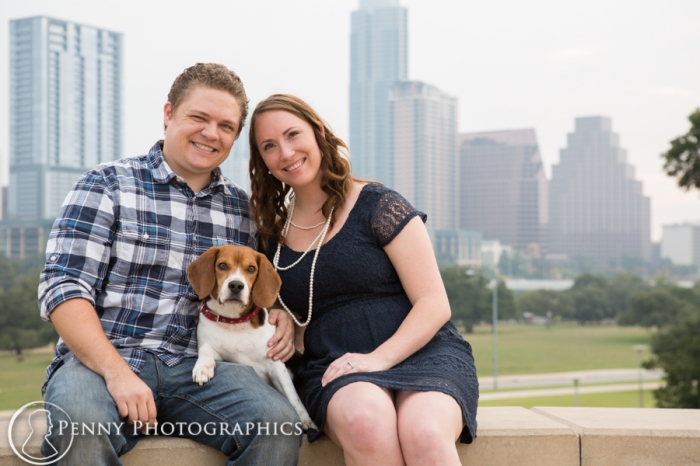 couple with beagle dog family portraits