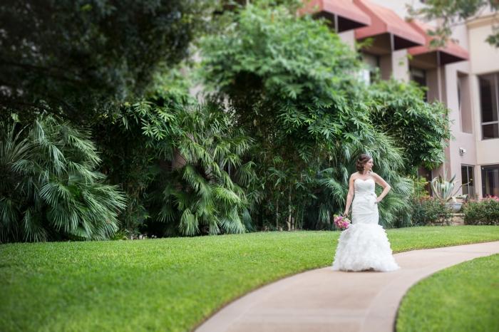bridal portraits in a garden in Austin TX