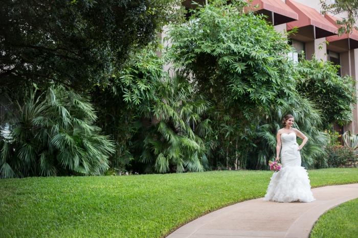 bride standing in a garden in Austin TX