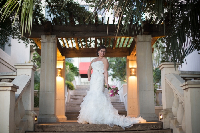 bride in a gazebo for bridals
