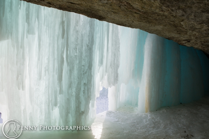 Frozen waterfall in Minnehaha Falls, MN