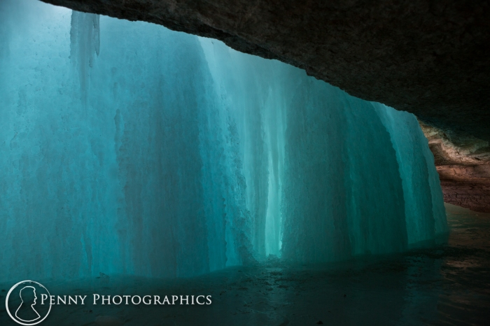 behind Frozen waterfall in Minnehaha Falls, MN
