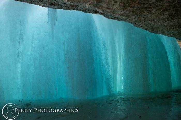 behind Frozen waterfall in Minnehaha Falls, MN