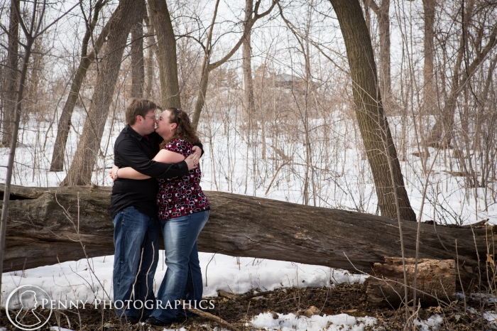 outdoor winter engagement portraits in Minnesota