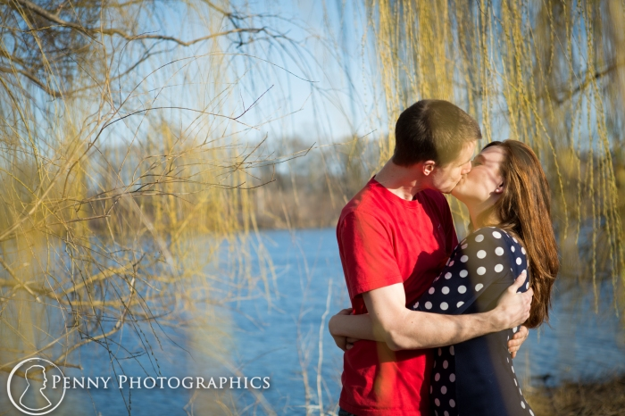 engagement photos under a willow tree MN