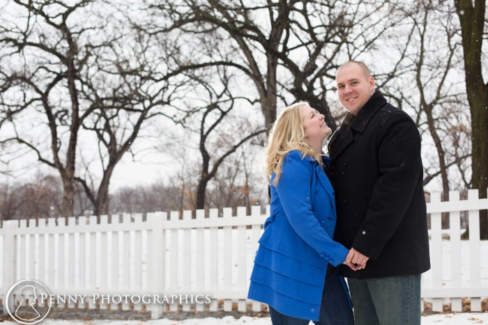 engagement photos outside in the snow in Minnesota