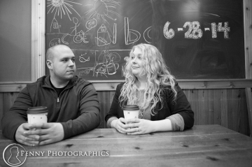 Save the date on chalkboard at coffee shop MN
