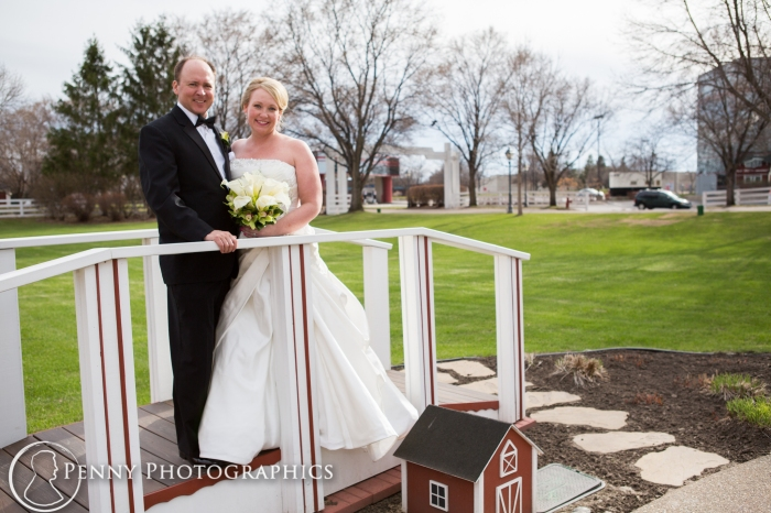 wedding on bridge at the Earle Brown Event Center MN