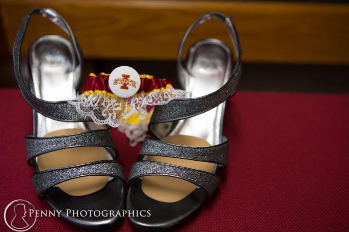 University of Iowa garter theme on wedding shoes