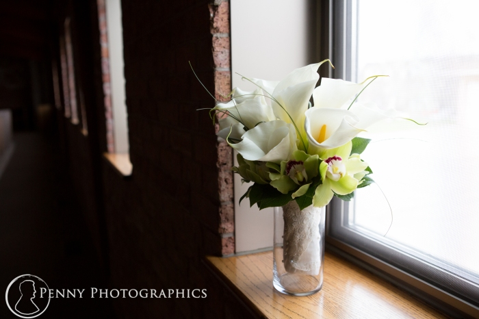 lily bouquet in the church window
