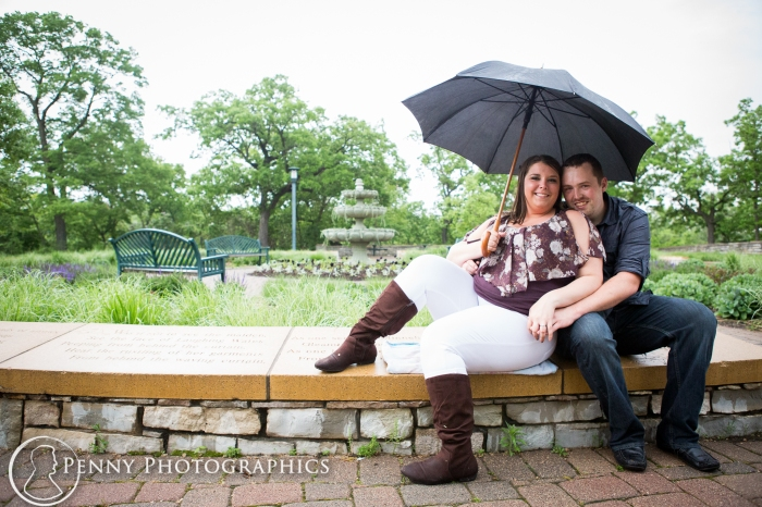 Outdoor engagement photography in the rain Minneapolis
