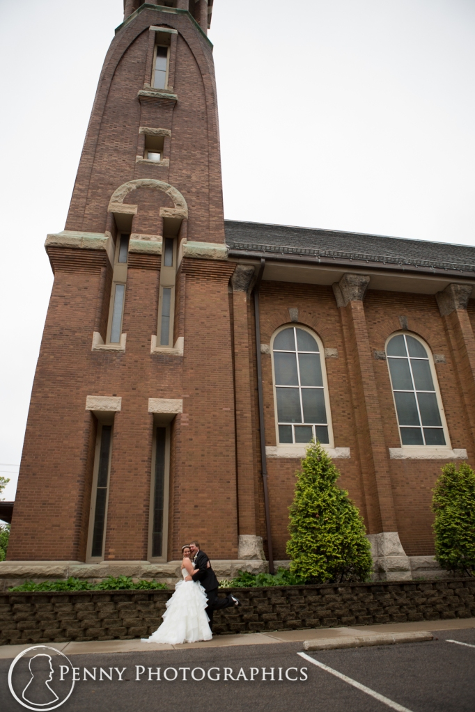 couple outside church in Minneapolis