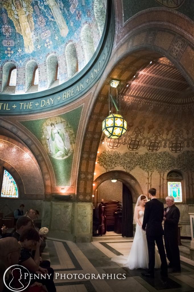 bride and groom in a beautiful church at Lakewood Memorial Minneapolis