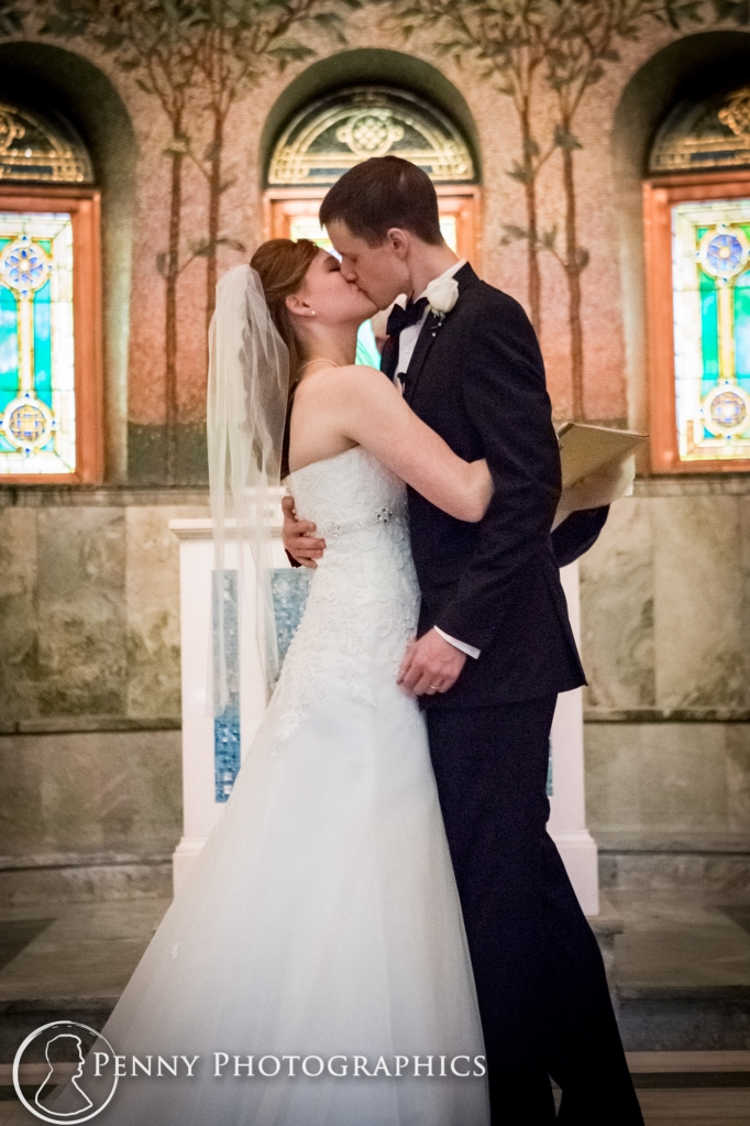 first kiss at the alter in Lakewood memorial church