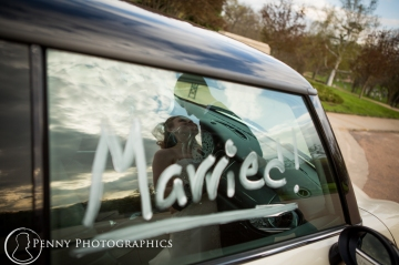 beautiful portrait of bride and groom in reflection