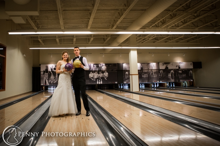 Bride and groom on the bowling lanes in Minneapolis