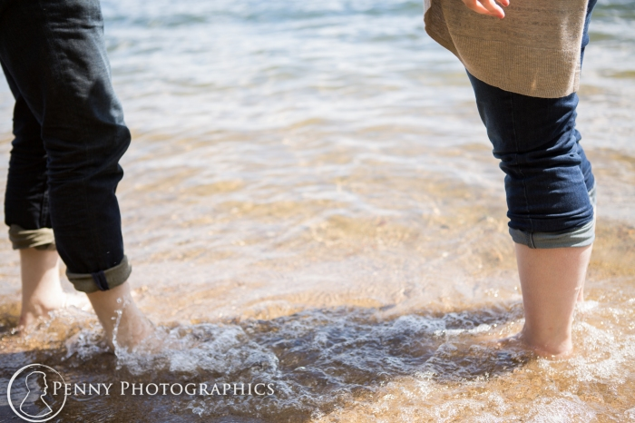 at the beach in Harriet Island Minneapolis Engagement