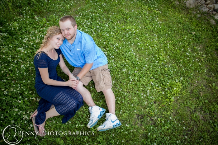 engagement portraits outside on the grass