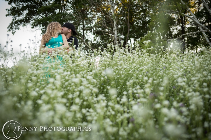 engagement photos in the flowers outside Minneapolis
