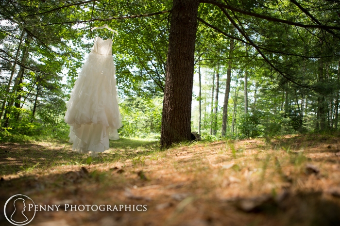 beautiful wedding dress photo outside in the trees