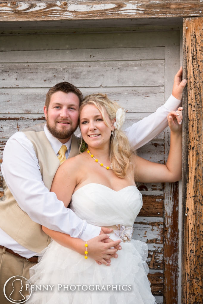 Wedding couple by Barn- Minnesota