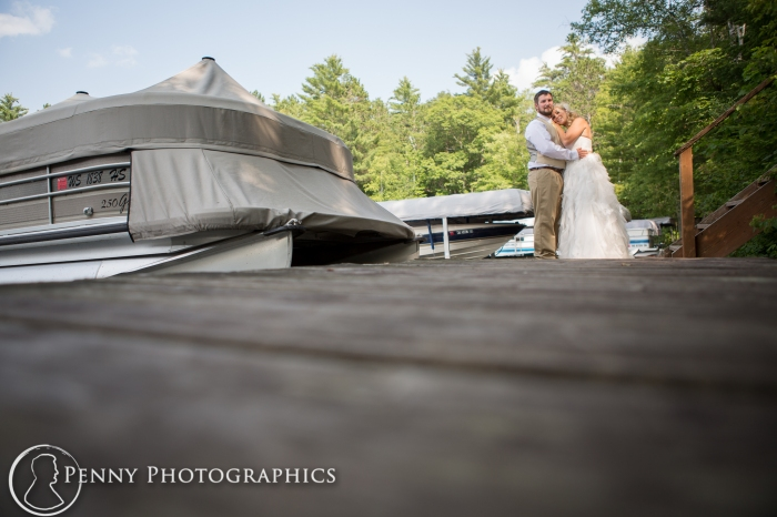 wedding photos on deck by the water Wisconsin