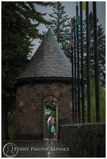 A romantic engagement photo in a tiny castle