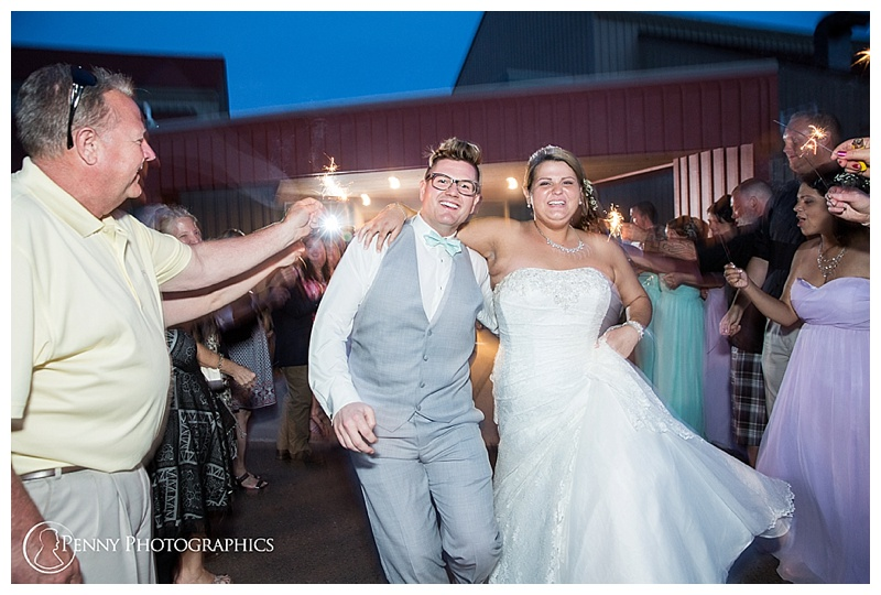 Great Lakes Wedding couple sparkler exit