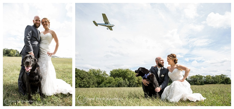 green acres wedding with a dog airplane